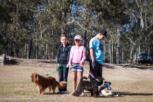Three of the kid's camped next to us and our dogs.  L-R: Hunter, Ebony and Pépe