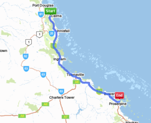 Cairns to Airlie Beach. 622km - 7hr 42min