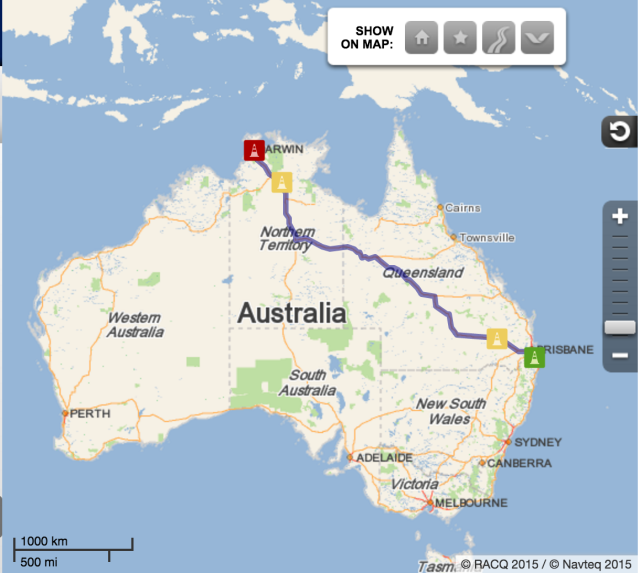 Route from Canungra to Darwin